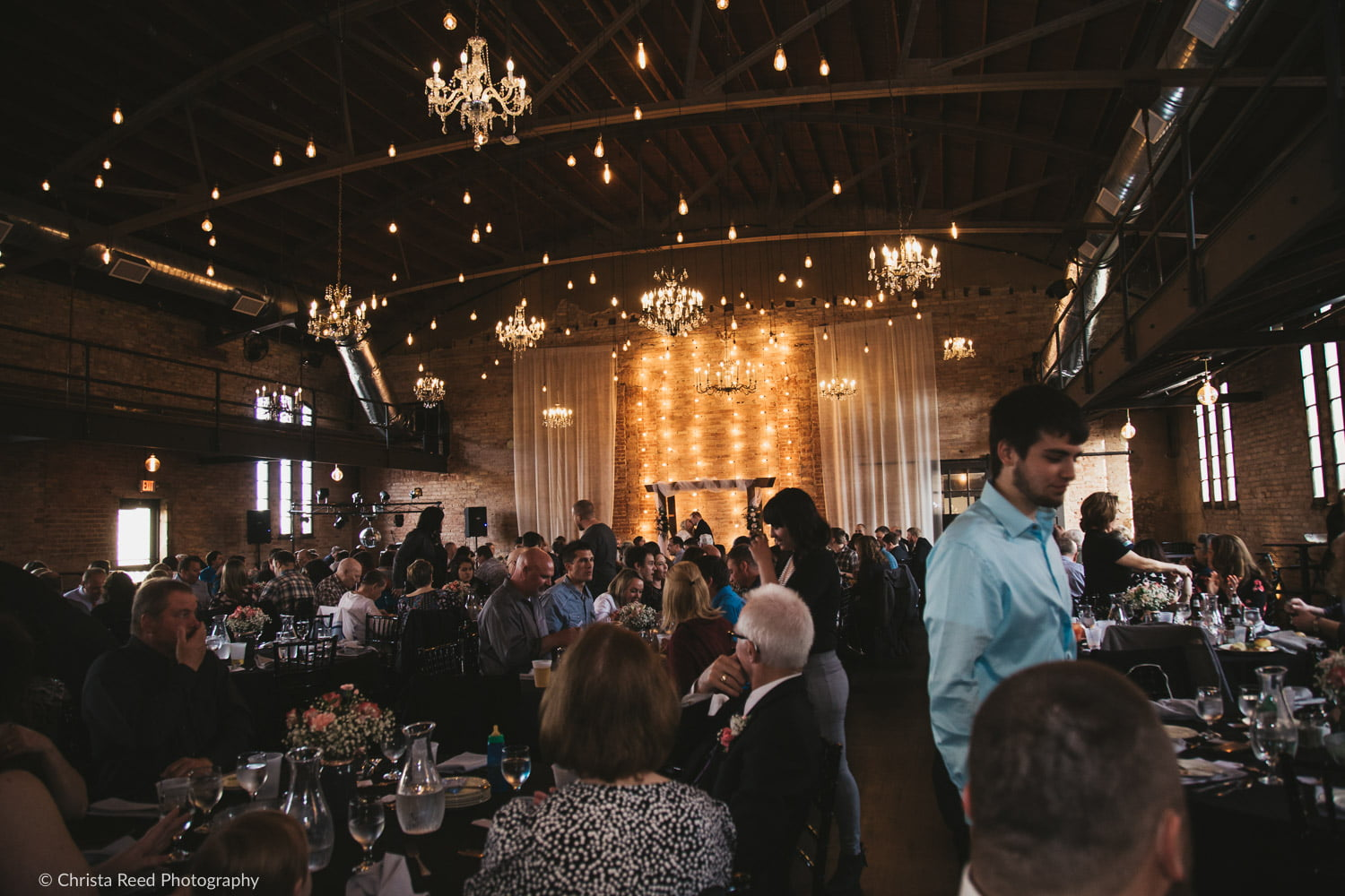 A large wedding reception at the Capitol Room