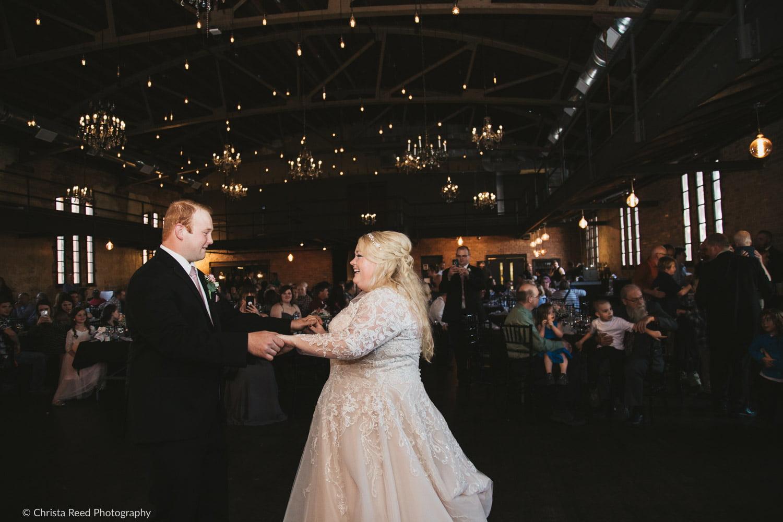 first dance in a dark reception venue