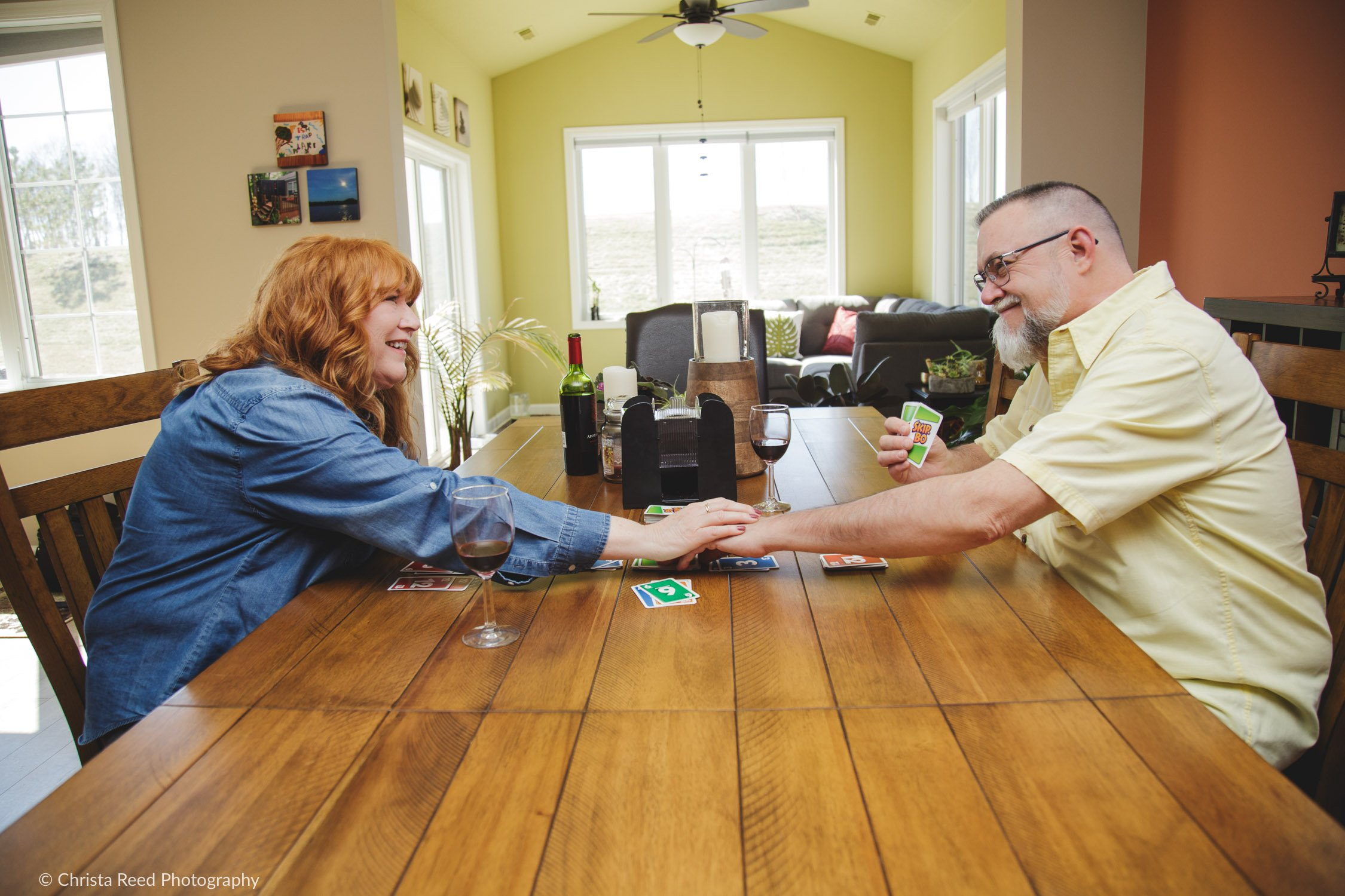 playing cards for your lifestyle engagement session in cologne mn