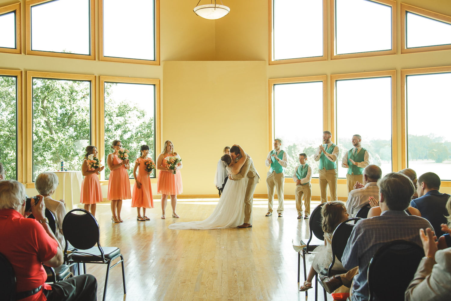 wedding ceremony first kiss riverview greens wedding photography