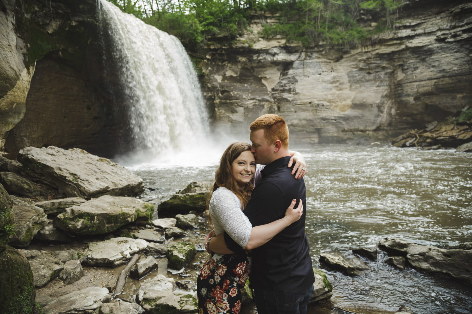 romantic waterfall engagement pictures mankato