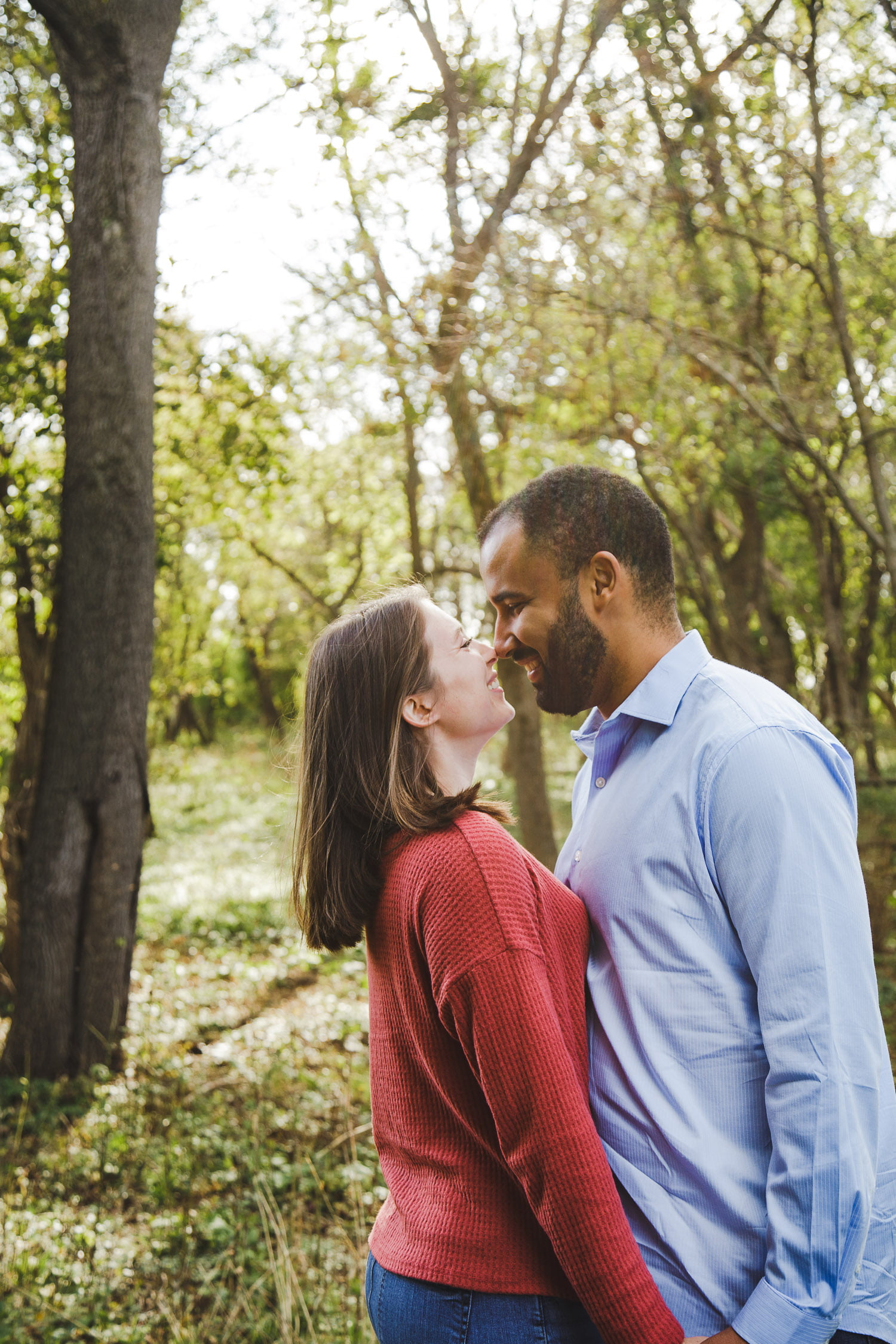 romantic real engagement photography at cowlings arboretum in Northfield