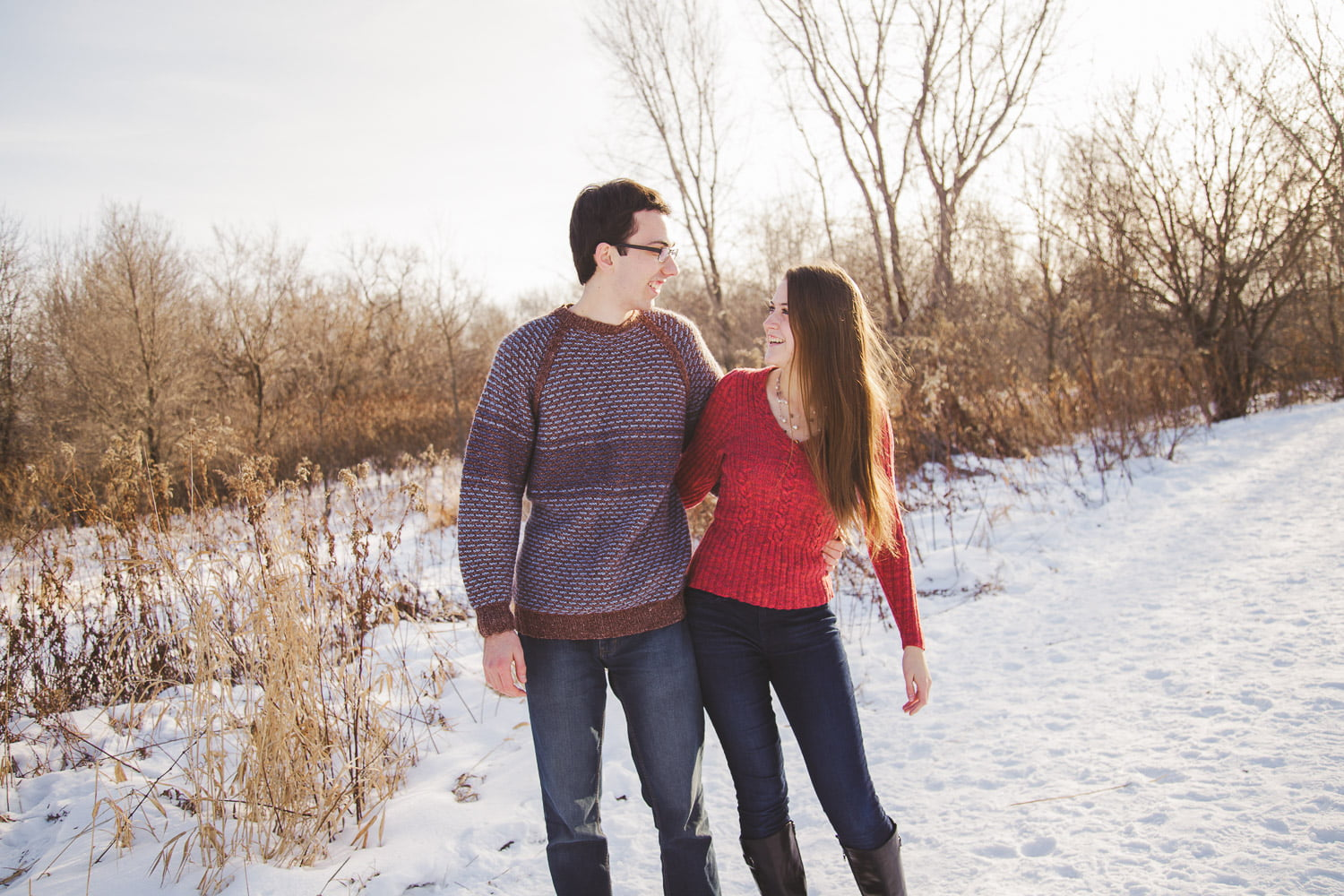 winter engagement pictures in sweaters