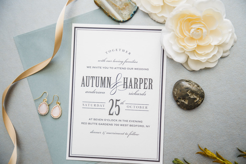 modern classic black and white wedding invitation