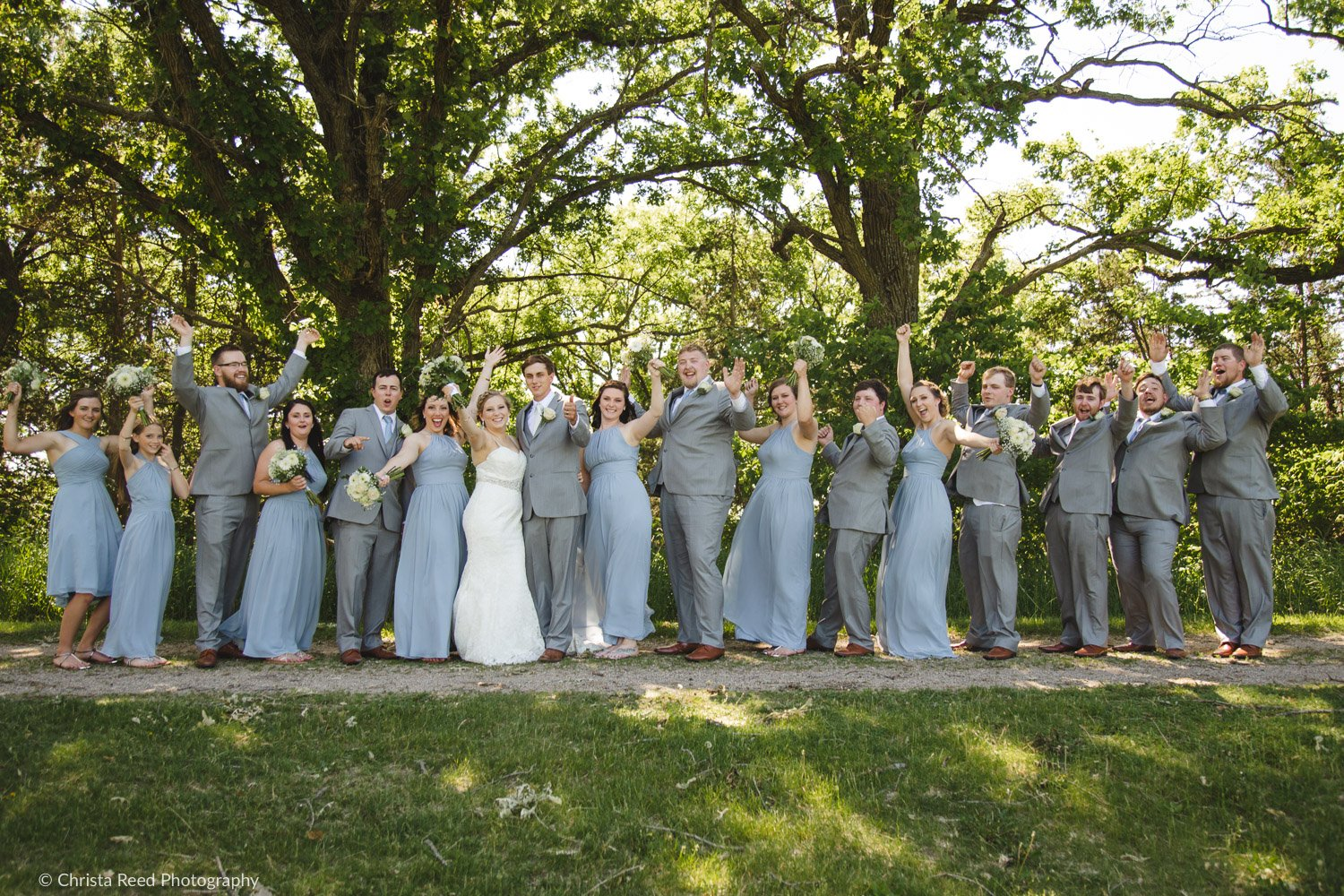 a large wedding party poses for a picture at Ney Nature Center