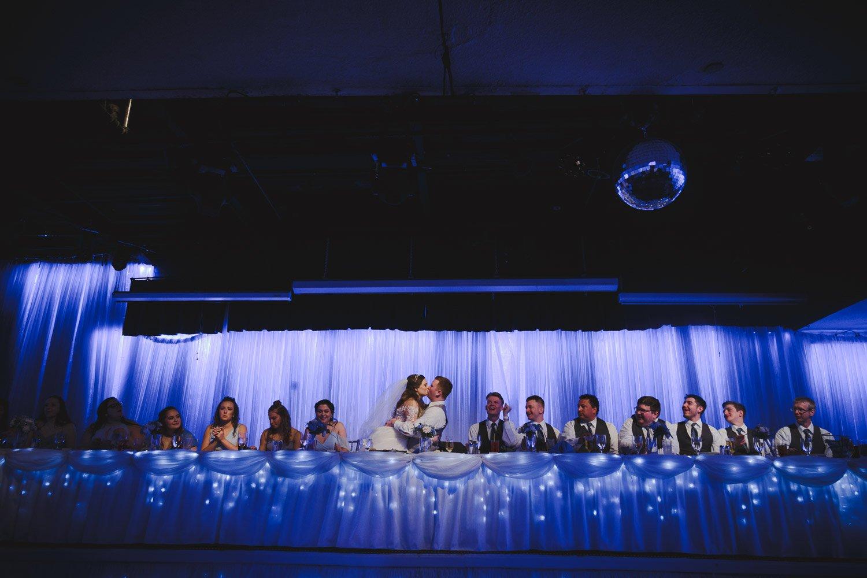 wedding reception with dramatic lighting at Profile Event Center Casablanca Hall Minneapolis