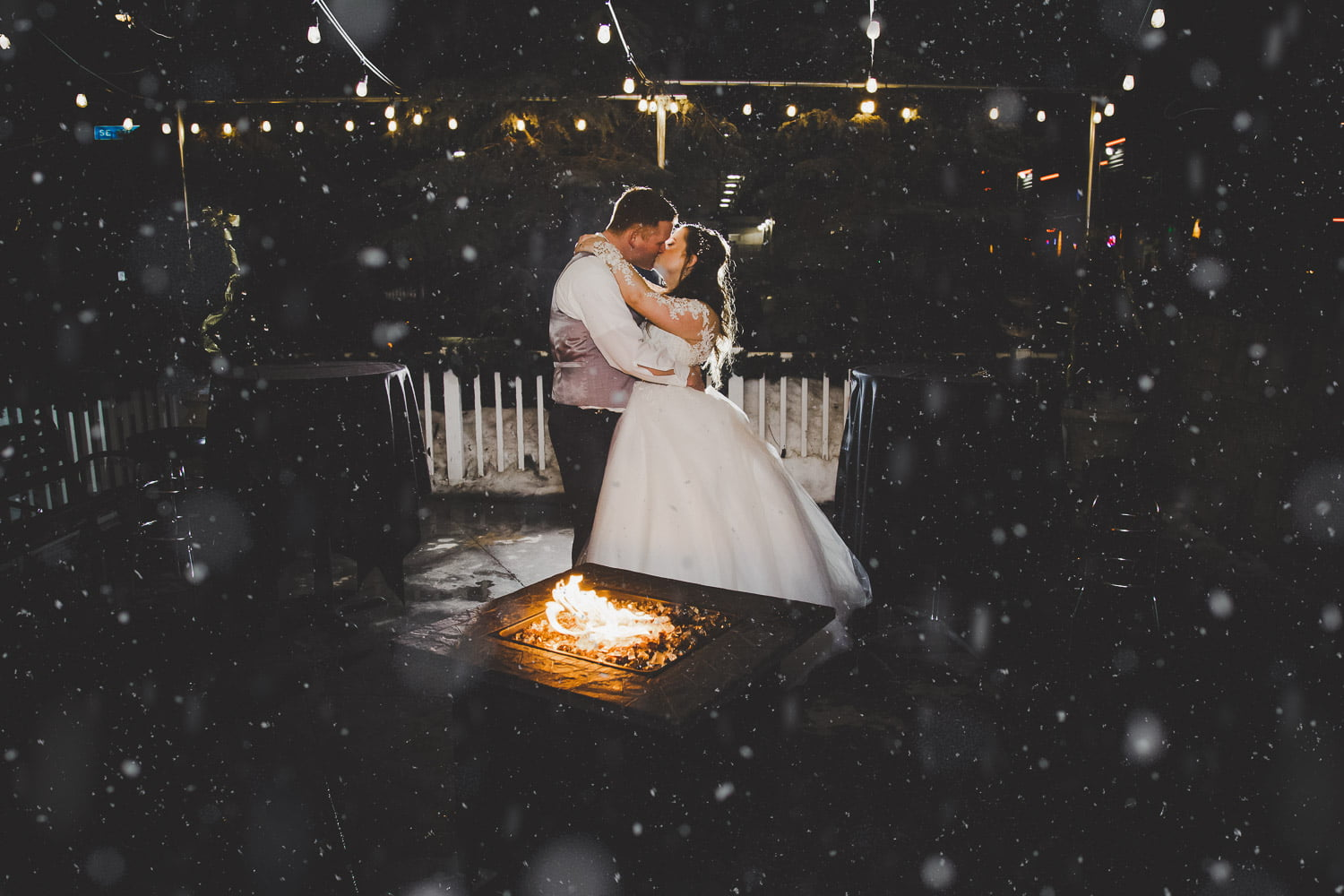 wedding photography at night in front of a bonfire fire in Minneapolis