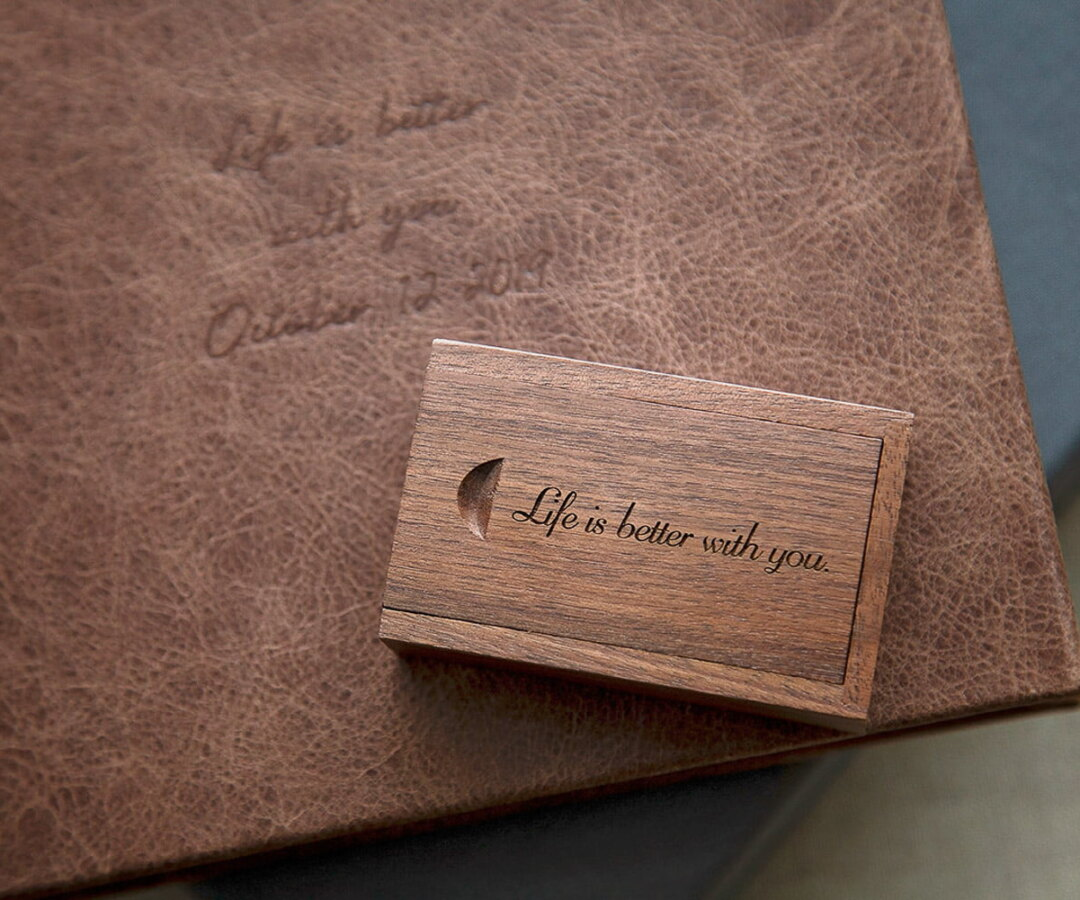 wedding album with matching wooden flash drive