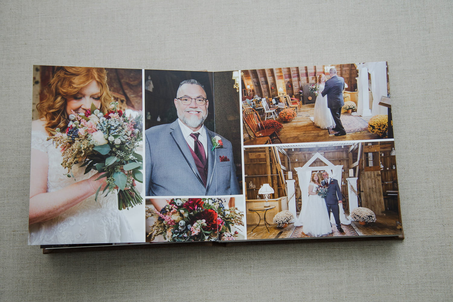 wedding album spread of the first look