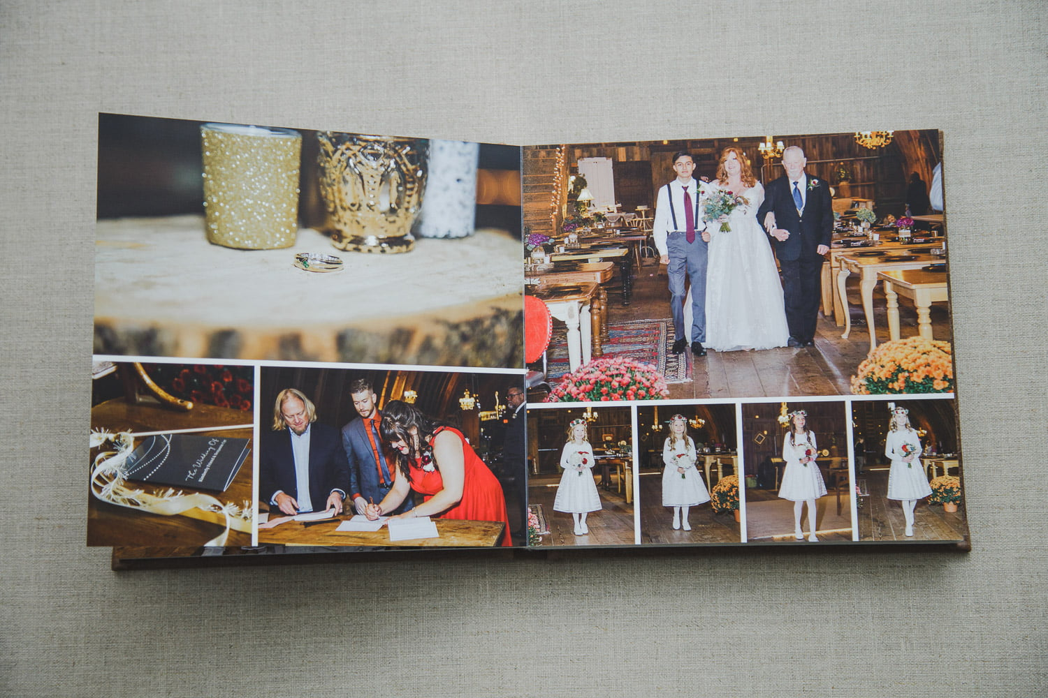 a wedding album spread of the ceremony