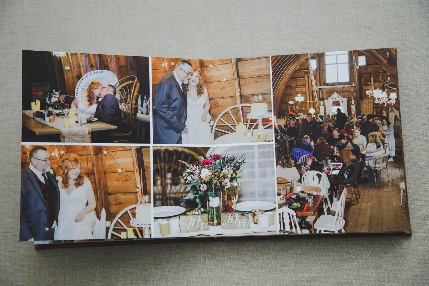 wedding album pages showing pictures of the reception decor