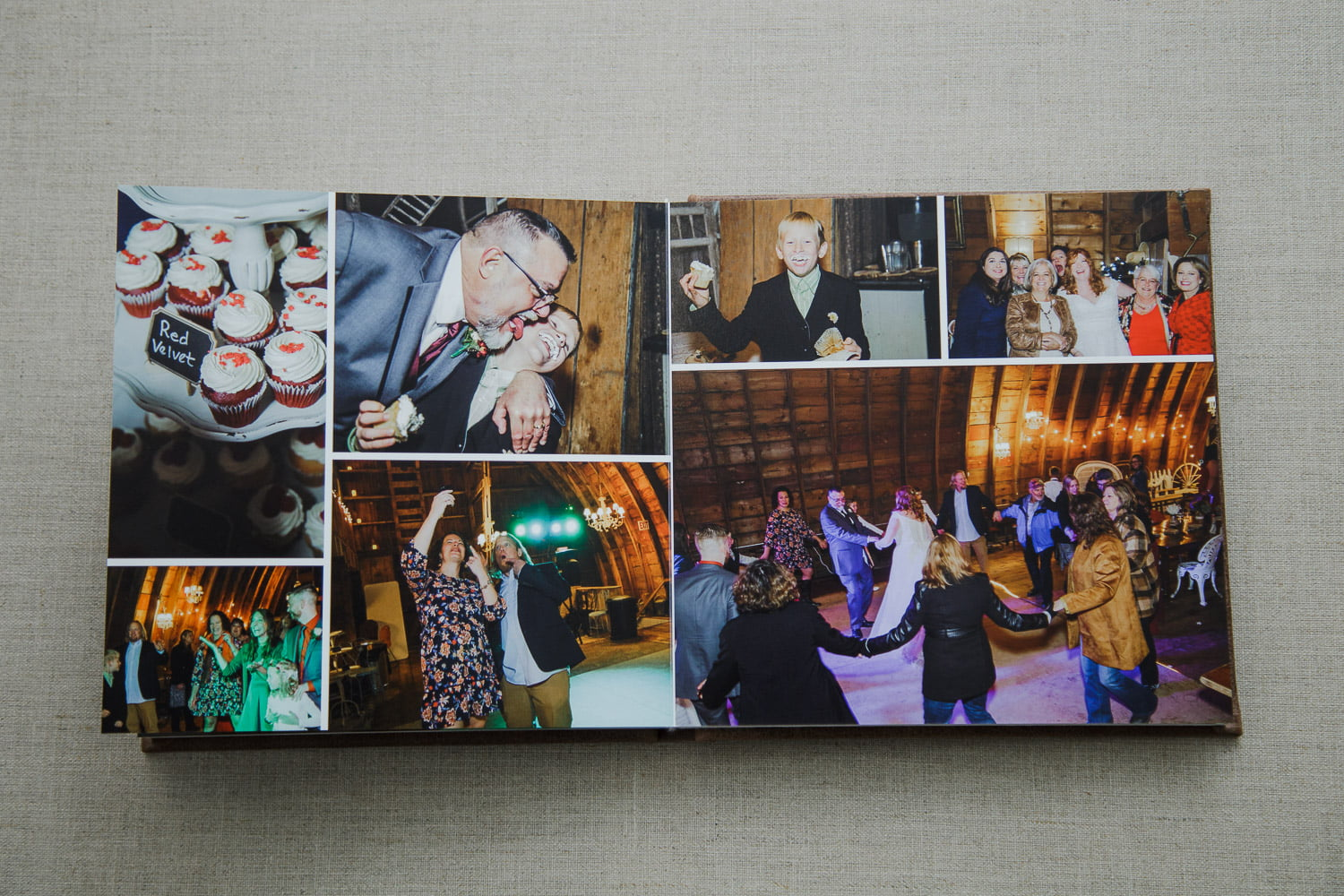 personalized wedding album spread of the reception