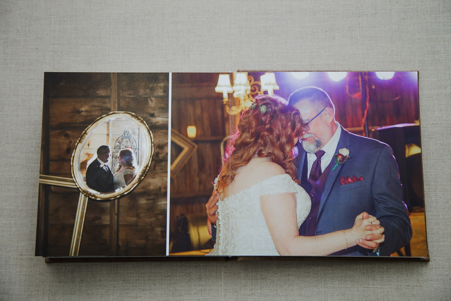 personalized wedding albums with romantic photography