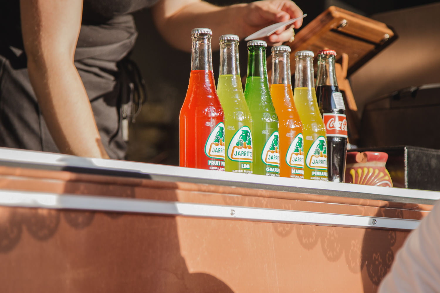mexican sodas served from a food truck at a wedding reception
