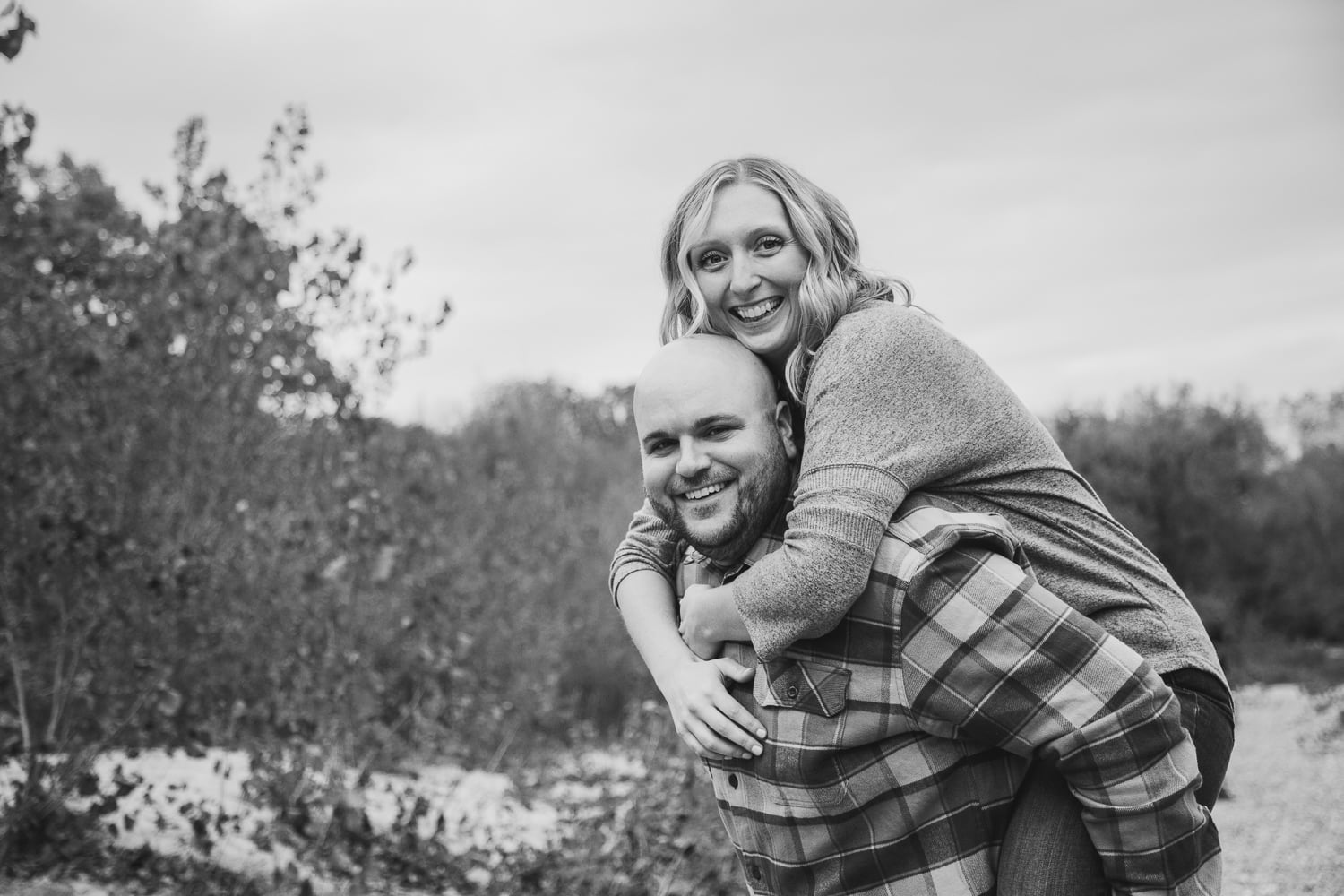 a black and white engagement picture in St. Peter Mn
